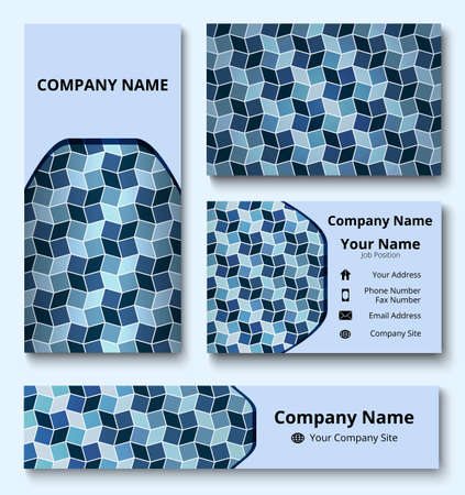 Professional deluxe branding design kit with decorative ornament of blue and white shades. Premium corporate identity template. Business stationery mock-up Çizim