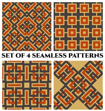 Set of 4 abstract stylish geometrical seamless patterns with celtic ornament of gray, orange and beige shades Stok Fotoğraf - 74622446