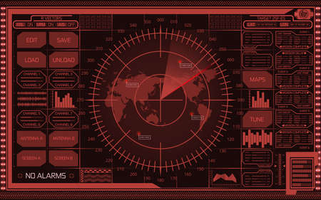 Abstract digital red radar screen with world map, targets and futuristic user interface on dark background. Stok Fotoğraf - 74281737