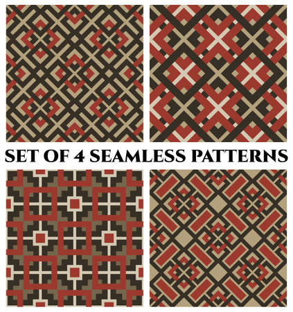 Set of 4 abstract modern geometrical seamless patterns with celtic ornament of camouflage, red, sand, and white shades Çizim