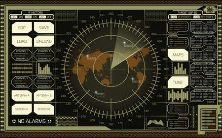 Abstract digital radar screen with world map, targets and futuristic user interface of green, white and brown shades on dark background Stok Fotoğraf - 74347127