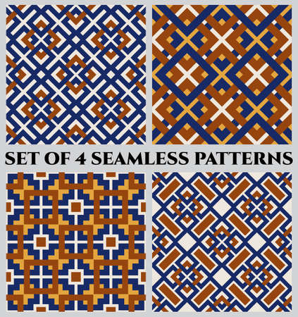 Set of 4 abstract modern geometrical seamless patterns with celtic ornament of blue, orange, brown, and white shades Çizim