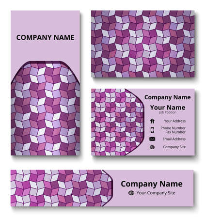 Professional deluxe branding design kit with decorative ornament of violet shades. Premium corporate identity template. Business stationery mock-up Çizim