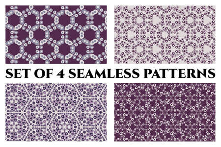 Set of 4 abstract seamless patterns of circle and drop elements in violet shades