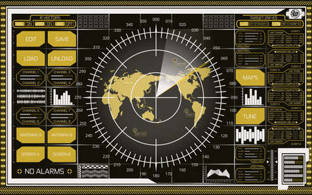 Abstract digital radar screen with world map, targets and futuristic user interface of white and yellow shades on dark background