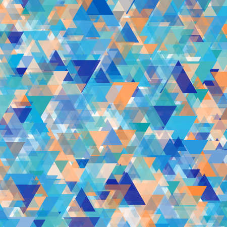 Abstract background of triangles in blue, white and orange shades