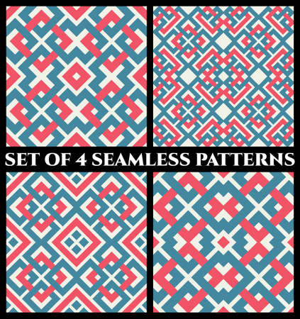 Set of 4 abstract contemporary geometrical seamless patterns with celtic ornament of red, blue, and white shades Stok Fotoğraf - 74622451