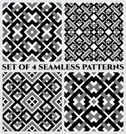Set of 4 abstract modern geometrical seamless patterns with celtic ornament of black, gray, and white shades