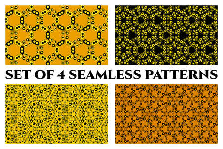 Set of 4 abstract seamless patterns of circle and drop elements in orange, yellow, and black shades Çizim