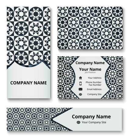 Professional deluxe branding design kit with decorative ornament of black and gray shades. Premium corporate identity template. Business stationery mock-up Çizim