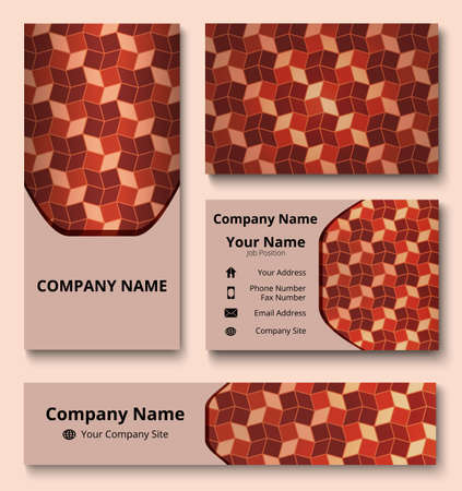 Professional branding design kit with decorative ornament of brown and beige shades. Premium corporate identity template. Business stationery mock-up