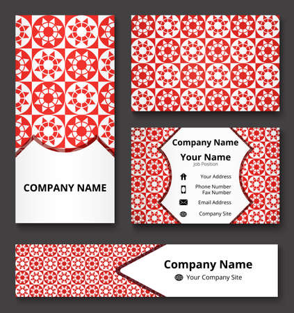 Luxury corporate identity mock-up of banner, business and invitation cards of red and white shades. Professional branding design kit. Stationery set