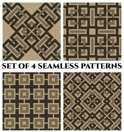 Set of 4 abstract fashionable geometrical seamless patterns with celtic ornament of black and gray shades