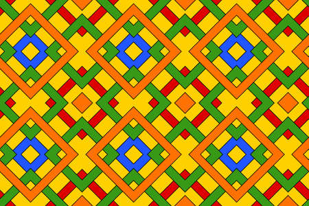 Abstract fashionable geometric seamless pattern with celtic ornament of red, blue, green, orange, and yellow shades