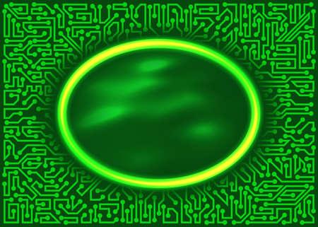 抽象的な未来技術の緑と黄色の色合いの回路基板の要素とフレームをラウンドします。