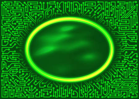 industry electronic: Abstract futuristic technology round frame with circuit board elements of green and yellow shades Illustration
