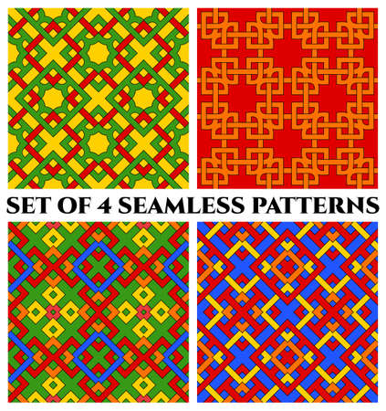 Set of 4 abstract modern colorful geometric seamless patterns with celtic ornament Stok Fotoğraf - 75936381