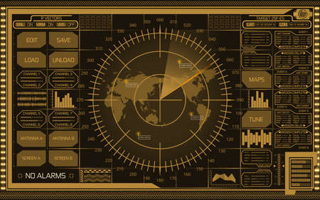 Abstract digital yellow radar screen with world map, targets and futuristic user interface on dark background. Stok Fotoğraf - 75616864