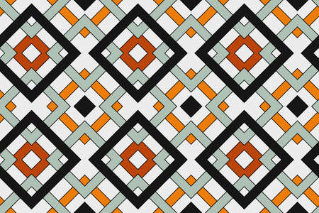 Abstract trendy geometric seamless pattern with celtic ornament of white, black, orange, and grey shades