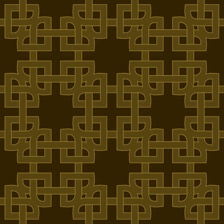 celtic background: Abstract trendy geometric seamless pattern with celtic ornament of brown and golden shades