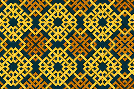 Abstract modern geometric seamless pattern with celtic ornament of brown, blue, and yellow shades Stok Fotoğraf - 75936387