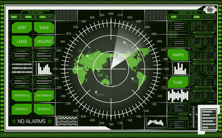 Abstract digital radar screen with world map, targets and futuristic user interface of white and green shades on dark background