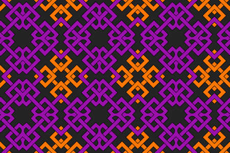 Abstract stylish geometric seamless pattern with celtic ornament of violet, orange, and black shades