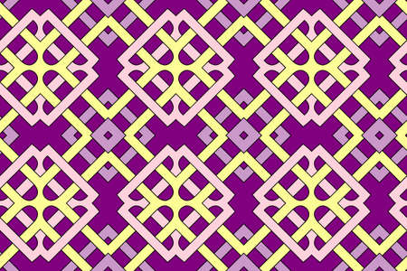 Abstract stylish geometric seamless pattern with celtic ornament of violet and yellow shades Stok Fotoğraf - 75936388
