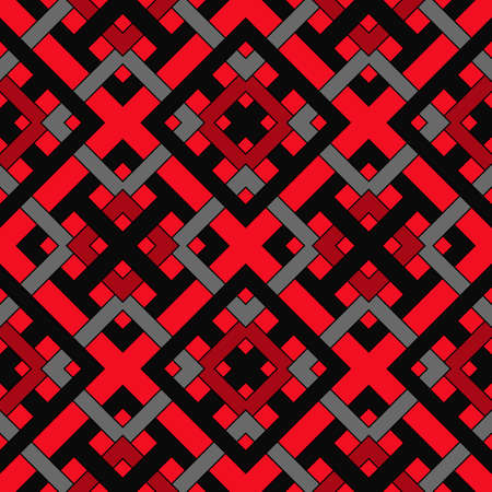 Abstract contemporary geometric seamless pattern of red, black, and grey shades