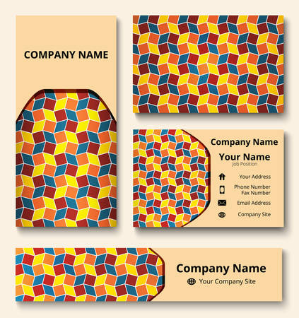 Professional branding design kit with decorative ornament of red, teal, orange, and yellow shades. Premium corporate identity template. Business stationery mock-up Çizim