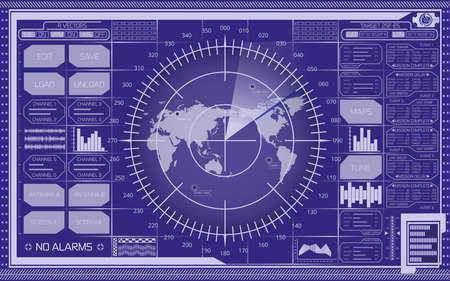 Abstract digital radar screen with world map, targets and futuristic user interface of blue shades Çizim