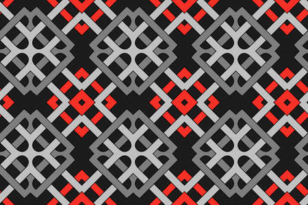 Abstract fashionable geometric seamless pattern with celtic ornament of red, black, and grey shades Stok Fotoğraf - 75936441