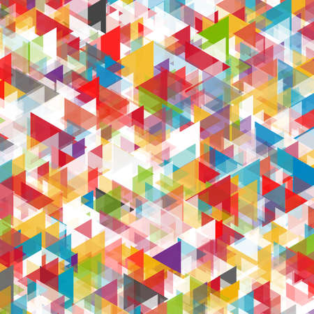 Colorful abstract background of triangles in red, blue, orange, violet, white and green shades Çizim