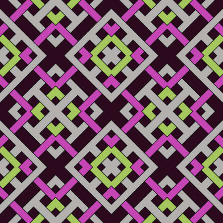 Abstract modern geometric seamless pattern of violet, green and gray shades 矢量图像