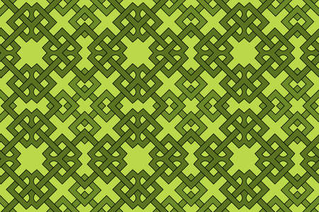 Abstract contemporary geometric seamless pattern with celtic ornament of green shades Illustration