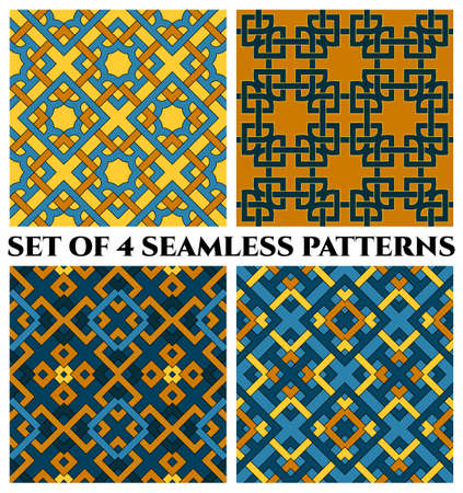 Set of 4 abstract contemporary geometric seamless patterns with celtic ornament of blue, brown, and yellow shades Stok Fotoğraf - 75936444