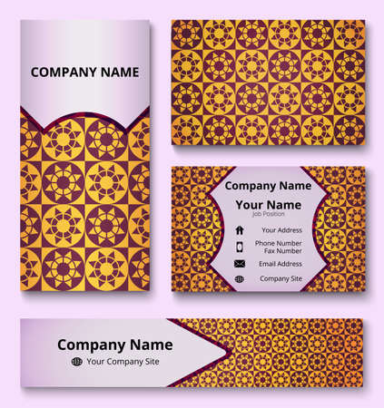 Luxury corporate identity mock-up of banner, business and invitation cards of yellow, black, and orange shades. Professional branding design kit. Stationery set