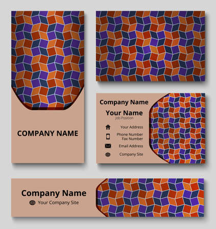 Professional deluxe branding design kit with decorative ornament of blue, red, violet, and orange shades. Premium corporate identity template. Business stationery mock-up Stok Fotoğraf - 75617189