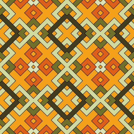 Abstract trendy geometric seamless pattern of green and orange shades Stok Fotoğraf - 75936445