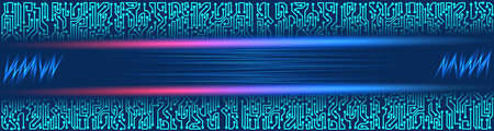 Abstract futuristic technological banner with circuit board elements of violet and blue shades Stok Fotoğraf - 75731329