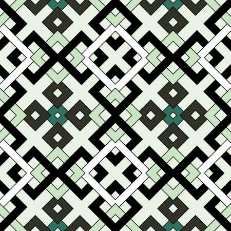 Abstract modern geometric seamless pattern of white, black, grey, and green shades