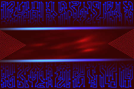 Abstract futuristic technology background of blue and red shades with circuit board elements