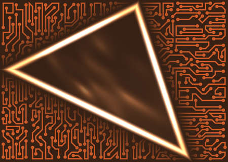 Abstract innovative technology triangular frame with circuit board elements of brown and orange shades Çizim