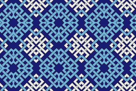 celtic background: Abstract stylish geometric seamless pattern with celtic ornament of blue and white shades