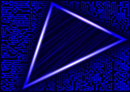 Abstract futuristic technology background with triangular text space and circuit board elements of blue shades Stok Fotoğraf - 75616862