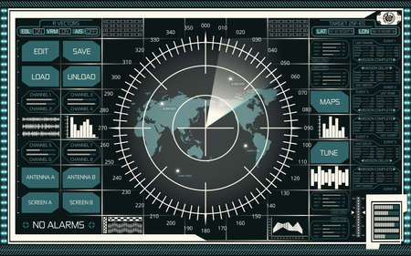 Abstract digital radar screen with world map, targets and futuristic user interface of teal and white shades on dark background Illustration