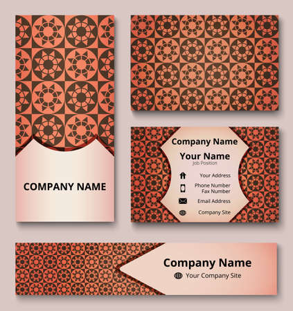 Professional deluxe branding design kit with decorative ornament of brown and red shades. Premium corporate identity template. Business stationery mock-up