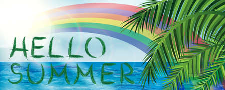 Abstract hello summer banner with palm leaves and rainbow on sky and ocean background