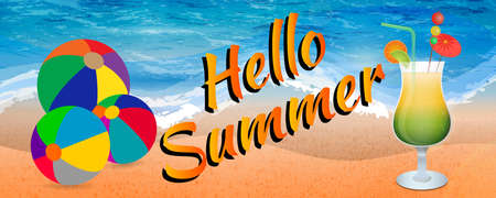Abstract hello summer banner with beach balls and icy cocktail glass on beach background Stok Fotoğraf - 80321475
