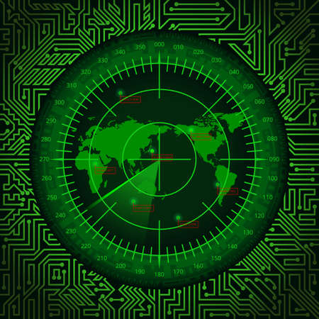 Abstract digital green radar screen with world map, targets and circuit board elements on dark background Stok Fotoğraf - 80174757
